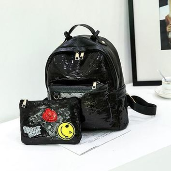 University College Backpack Sequin  Set Women PU Leather  Embroidered Sequins Clutch   Bag Female Party Bling Mohila FemininaAT_63_4