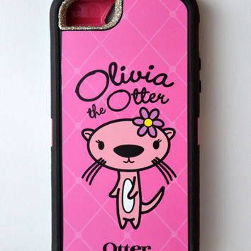 Otterbox Case Friends Collection iPhone 5 Glitter Cute Sparkly Bling Defender Series Custom Case Silver/Olivia Pink