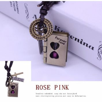 Harry Potter inspired Magic Book Hourglass Necklace Time Turner Charm Drop Pendant Leather Necklace