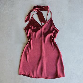 reverse - choker slip dress - maroon