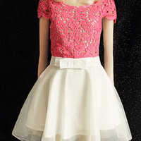 Hollow out lace short-sleeved bow  dress