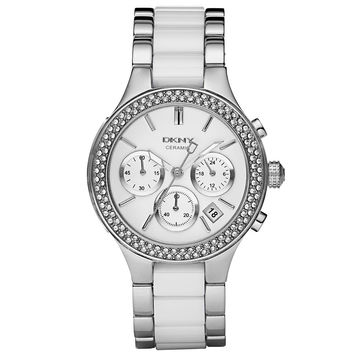 DKNY - Ladies' Chambers White Ceramic and Stainless Steel Chronograph Watch NY8181