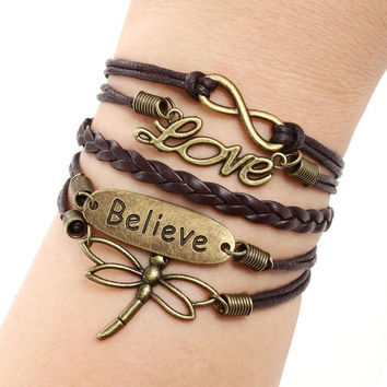 Love Dragonfly Multilayer Knit Leather Rope Chain Charm Bracelet DIY Gift (Color: Brown) = 1958499972