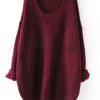 Vintage Burgundy Cosy Long Sweater