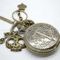 Anime Black Butler pocket watch necklace,with skull,glasses,chain,star and rose pendants NWBB01