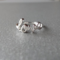 "Sterling Silver Polished Script ""love"" Ring"