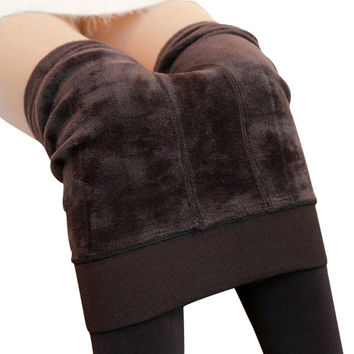 8 Colors Winter Plus Cashmere Leggings Woman Casual Warm Plus Size Faux Velvet Knitted Thick Slim Leggings Super Elastic