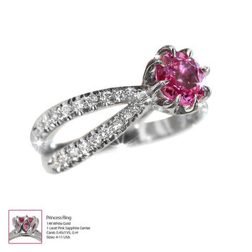 Pink Sapphire Ring, Split Shank Engagement Ring, 14K White Gold Ring, 0.45 CT Pave Diamond Ring, Unique Engagement Ring