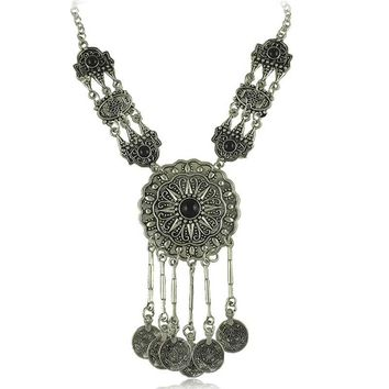 Vintage Coins Chain Multilayer Tassel Ethnic Currency Tribal Necklaces