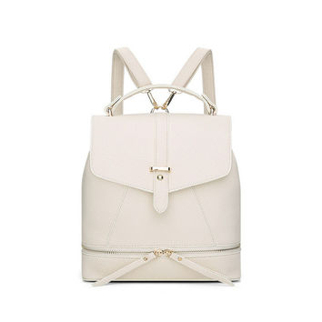 Versatile Leather Backpack - Beige