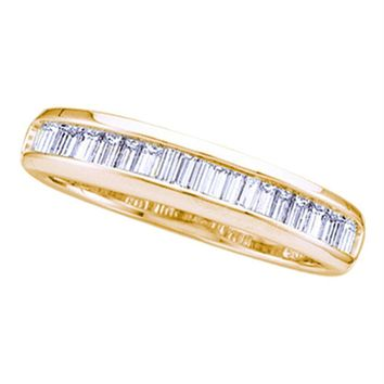 Yellow-tone Sterling Silver Women's Baguette Diamond Wedding Band Ring 1/3 Cttw - FREE Shipping (US/CAN)