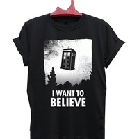 i want to believe doctor who T-Shirt Men, Women and Youth size S-2XL