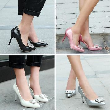 High Heels Shoes Faux Leather Pointed Toe  Brand Fashion Rhinestone Pumps Heels