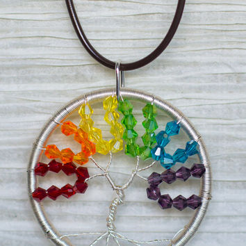 Gay Pride / Rainbow Silver Colored Copper Wire Wrapped Tree of Life Crystal pendant .