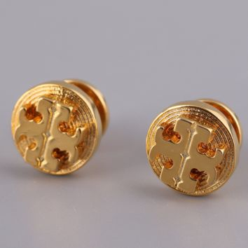 Tory Burch New fashion round alloy earring accessories Golden