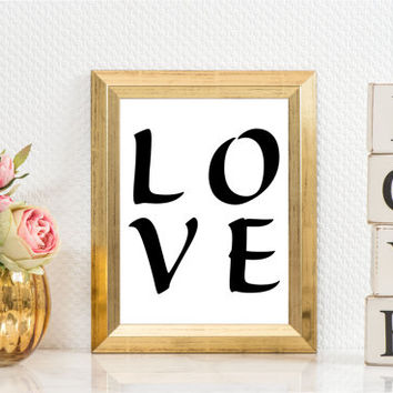 Love Typography Black and White, Wall Decor Ideas,Printable art, Typography print,bedroom decor, Instant Download