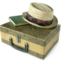 Vintage Suitcase / Small Tweed Suit Case/ Storage Box / Luggage for Home Decor, Storage, or Travel / Carry On