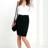 Keep Up Black Pencil Skirt