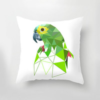 "Decorative Pillow Cover, Geometric Pillow, 18"" x 18"", Throw Pillow, Home Decor, Parrot"