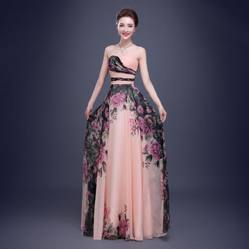 2017 Floral Print Chiffon Prom Dresses Flower Patern Strapless Sleeveless Floor Length Long Formal Gown vestido de festa