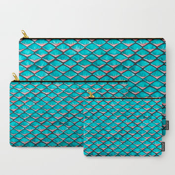 Teal blue and coral pink arapaima mermaid scales Carry-All Pouch by savousepate