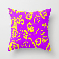 Purple and Yellow Indoor Throw Pillow Abstract Purple Pillow Cover Yellow Abstract Pillow Purple Yellow Floral Pillow Purple Pillow Cover