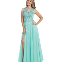 Mint Sheer Beaded Chiffon Gown  2015 Prom Dresses