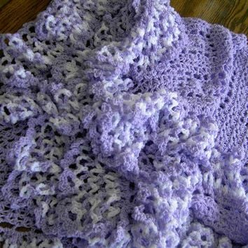 HANDMADE Crochet Blanket  lavender shawl with full lavender and white frill  Cuddle Blanket (nannycheryl original     ID   812    (452)