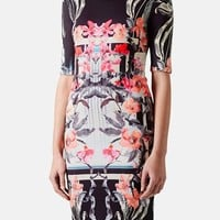 Topshop 'Orchid Mirror' Print Body-Con Dress