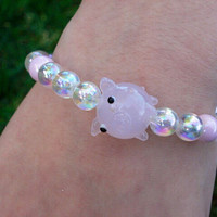 Pig Bracelet, Glass Pig Beaded Bracelet, Pig Bracelet, Pig Jewelry, Funny Jewelry, Whimsical Jewelry, Pig, Pig Collectibles, Girl Jewelry
