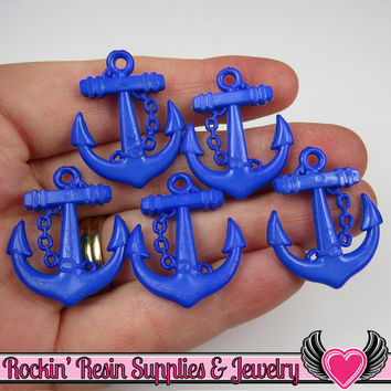 Dark Blue Anchor Pendant Sailing Nautical Charm (15 pieces) 29 x 24 mm
