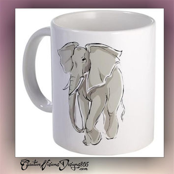 Elephant - decorated coffee mug - custom coffee cups