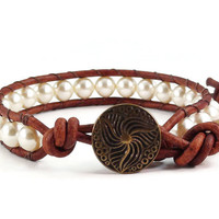 Leather Wrap Bracelet Vintage Style