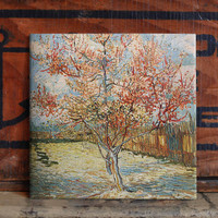 Van Gogh Peach Tree Ceramic Tile Coaster Set Artwork Trivet Hot Plate Pot Stand Plant Splashback Kitchen Decor Tile Interior Tile Coasters