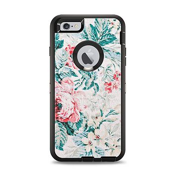 The Coral & Blue Grunge Watercolor Floral Apple iPhone 6 Plus Otterbox Defender Case Skin Set