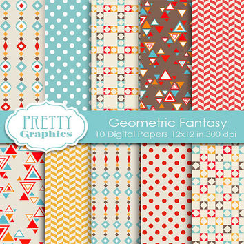 DIGITAL PAPERS - Geometric Fantasy - Commercial Use- Instant Downloads - 12x12 JPG Files - Scrapbook Papers - High Quality 300 dpi