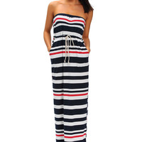 Nautical Navy Blue Stripe Print Strapless Maxi Dress