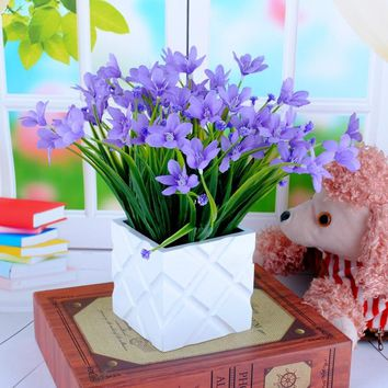 1Bunch Artificial Plastic Orchid Plant Fake Silk Flower Wedding Flower Arrangement Home Decoration
