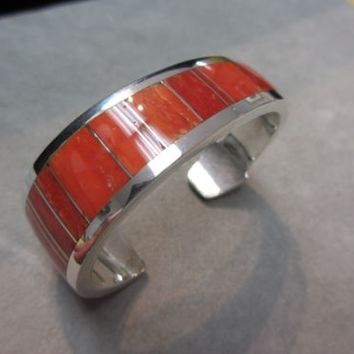 RARE Ray Tracey Knifewing  bracelet cuff sterling RED CORAL Inlay signed FAB!