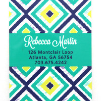 Personalized Luggage Tag Set of 2- Ikat Pattern
