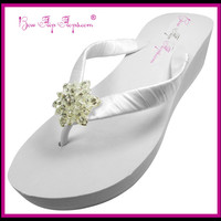 Bridal Flip Flops Vintage Flower Ivory White Wedge Rhinestone Womens Wedding Platform Satin Flip Flops