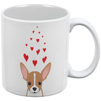Valentine's Day Chihuahua Love Hearts UP White All Over Coffee Mug