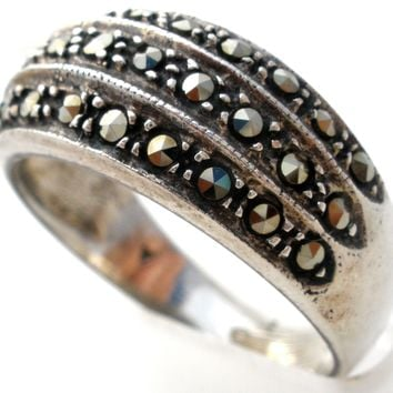 Sterling Silver Marcasite Band Ring Size 8 Vintage