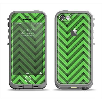 The Lime Green Black Sketch Chevron Apple iPhone 5c LifeProof Fre Case Skin Set