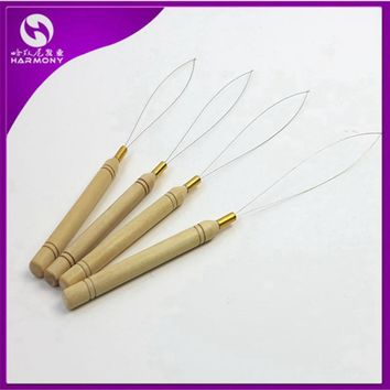 50pcs Hair Extension Hook Pulling Tool Needle Threader Micro Rings Beads Loop Wooden Handle With Iron Wire Hotting