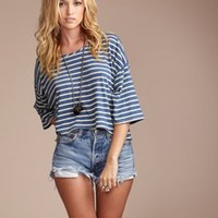 Daftbird Oversized Stripe Crop Tee [tsh374] - $88.00 : Wildfox Couture, FluxUs, Lauren Moshi, Gypsy 05, Geren Ford, Sam Edelman, LA Made, Matt Bernson, at ShopRobertson.com