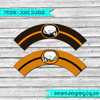 Halloween Skull Printable Cupcake Wrapper Set –  orange and black wraps with skull image - printable party supplies - INSTANT DOWNLOAD
