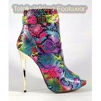 MM Adamarys Colorful Rainbow Snake Open Toe High Heel Ankle Boots 6-11