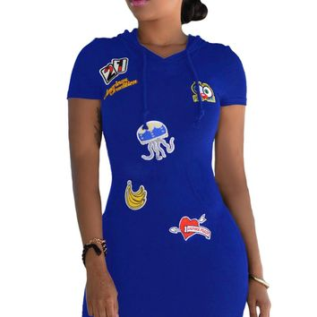 Blue Multi-color Patch Hoodies Sleeves Dress