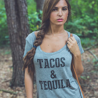 Tacos and Tequila Graphic Tee in Grey